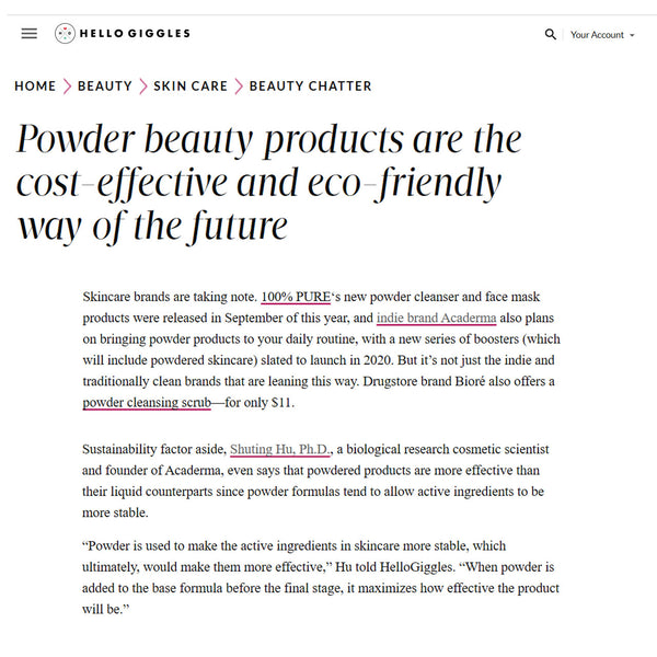 Interview by Hello Giggles: Why Power Beauty Products are Cost-Effective and Eco-Friendly