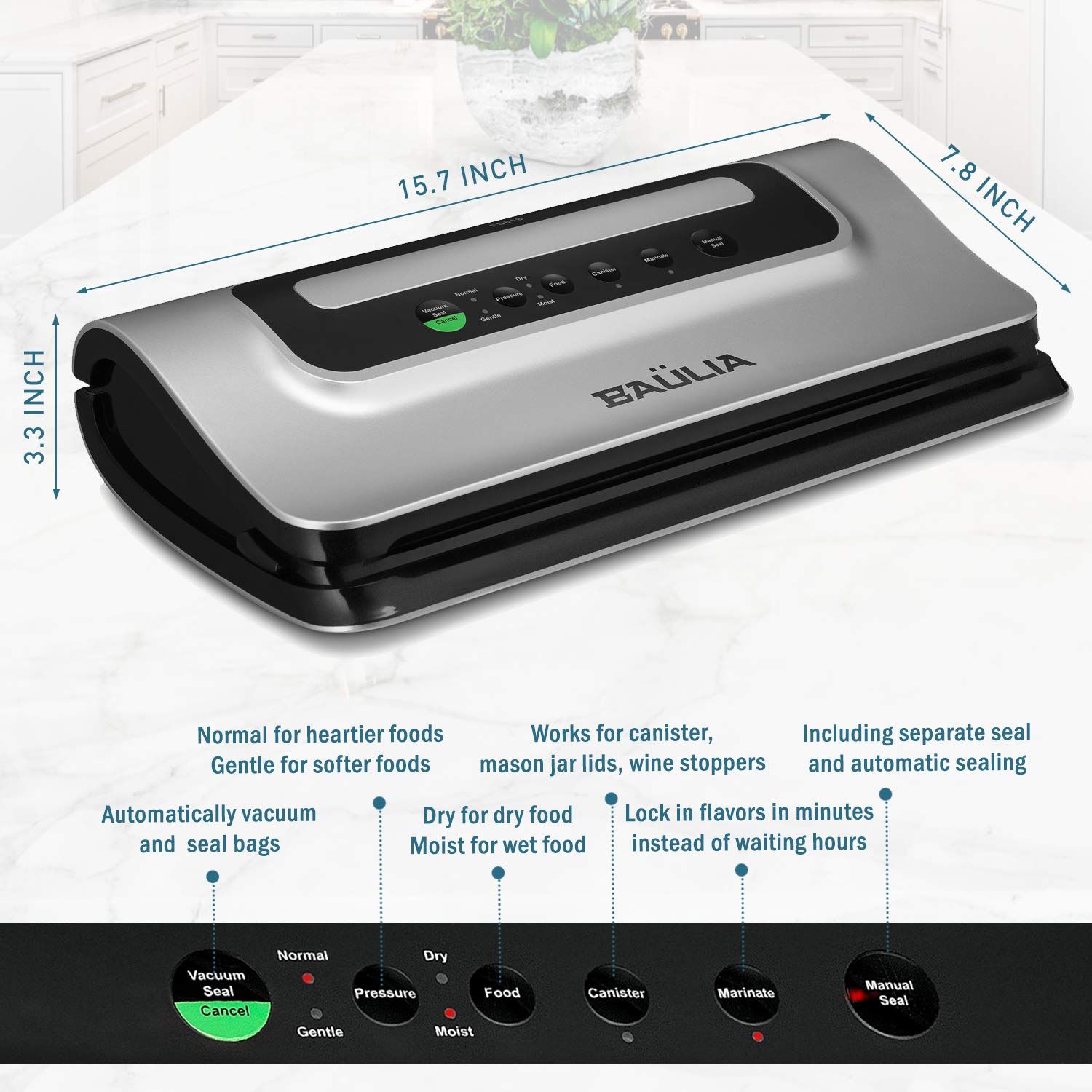 Bualia SF818 Automatic Vacuum Food Sealer – Moist, Dry & Wet  Function - Wine Air Suction System
