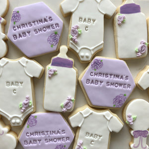 Baby Shower Lavender Mix Sugar Cookies personalized (1 dozen)