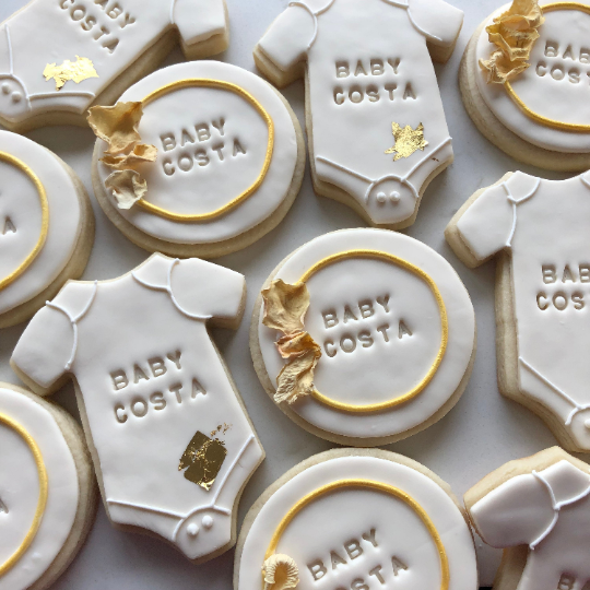 Baby Shower Mix Sugar Cookies personalized to your baby's name (1 dozen)