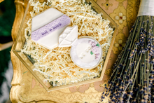 Load image into Gallery viewer, Mr & Mrs and Engagement Ring Lavender and White Lace Sugar Cookies (1 dozen)