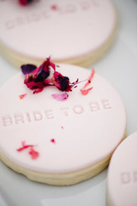 Bride to Be sugar cookies with edible flowers for wedding and bridal shower (1 dozen)