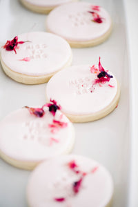 Miss to Mrs sugar cookies with edible flowers for wedding and bridal shower (1 dozen)
