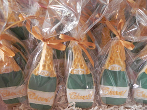 Champagne Bottle royal icing Sugar Cookies for Graduation and New Years (1 dozen)