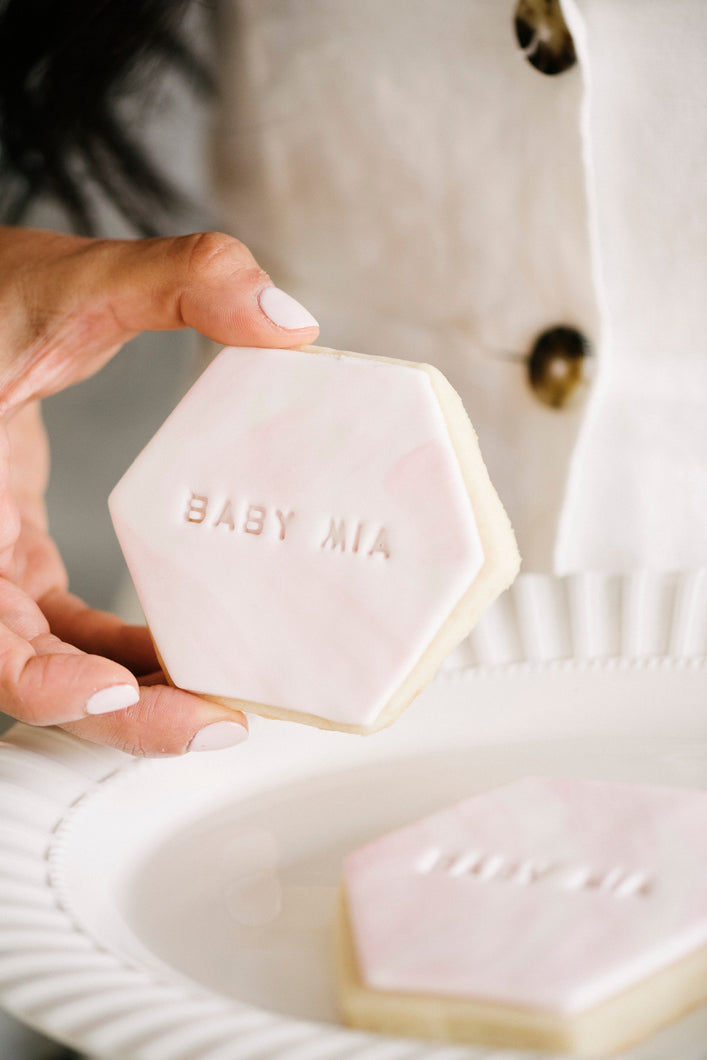 Baby Shower Hexagon Shaped White and Pink Sugar Cookies personalized to your baby's name  (1 dozen)