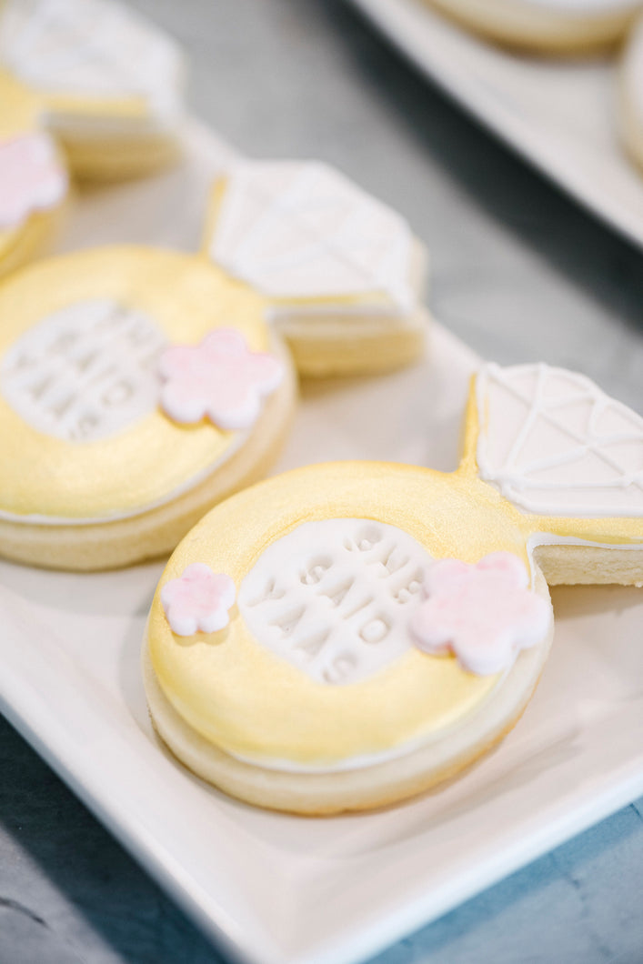 Engagement Ring White and Gold Sugar Cookies (1 dozen)