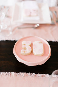 Birthday Number Shaped Vanilla Sugar Cookies Pink and White Floral Theme  (1 dozen)