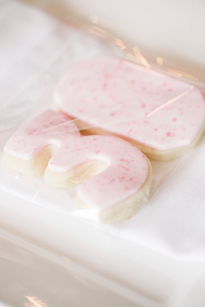 Birthday Number Shaped Vanilla Sugar Cookies Pink Polka Dot Theme  (1 dozen)