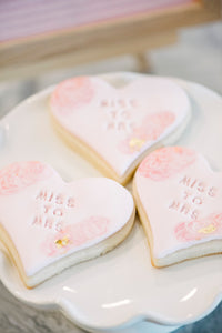 Miss to Mrs with floral theme sugar cookies for wedding and bridal shower (1 dozen)