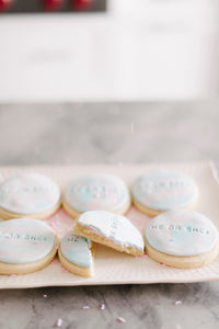 He or She? Gender Reveal Vanilla Sugar Cookies Pink and Blue Theme  (1 dozen)