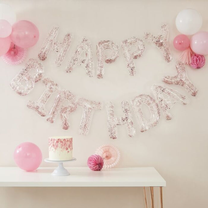 Clear Foil & Confetti Happy Birthday Balloons Banner