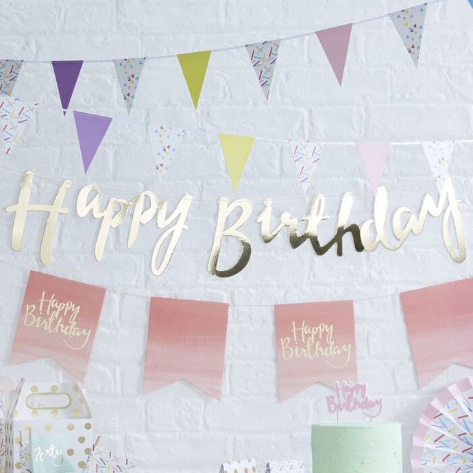 Gold Happy Birthday Bunting Banner