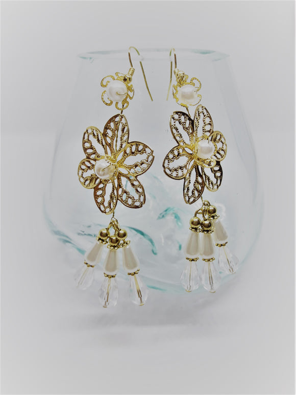 Gold flower drop earrings