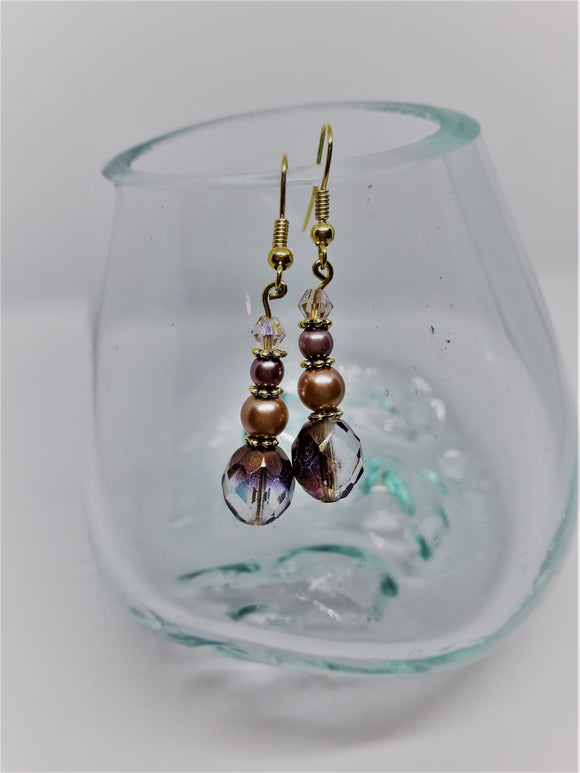 Gold earrings with taupe and plum accents