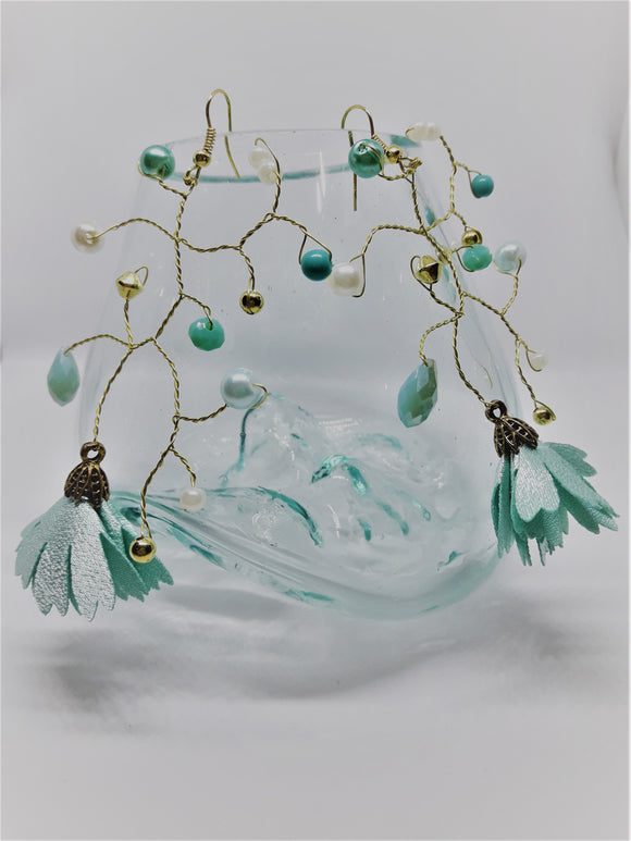 Gold and aqua branch earrings