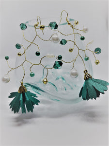 Gold and emerald green branch earrings