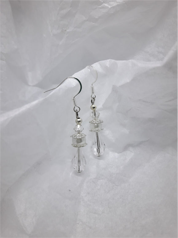 Silver earrings with clear crystals