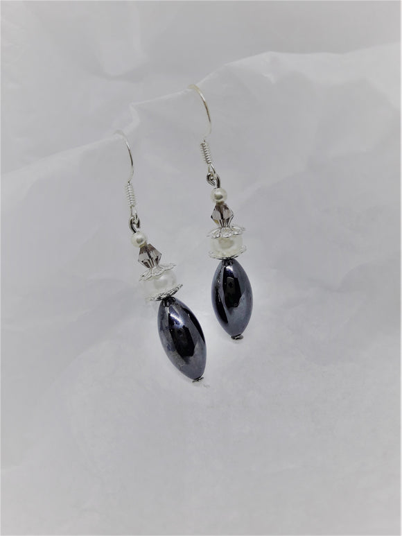 Silver with charcoal earrings