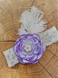 Lavender flower and feather lace garter