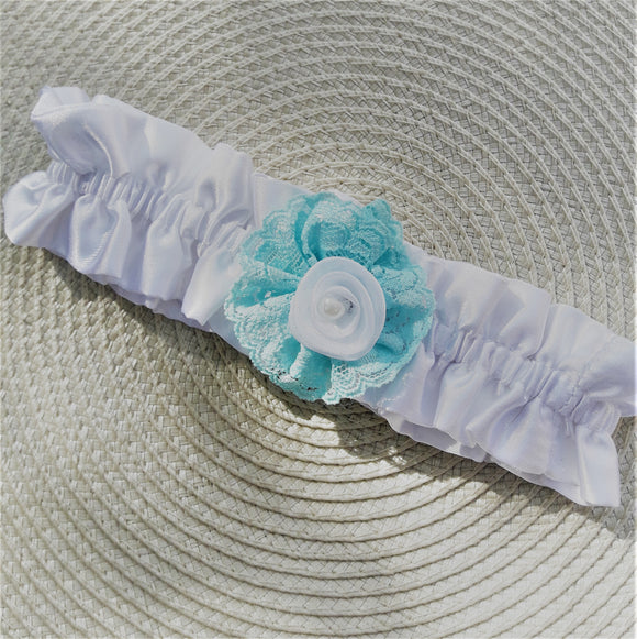 White satin garter with light blue flower