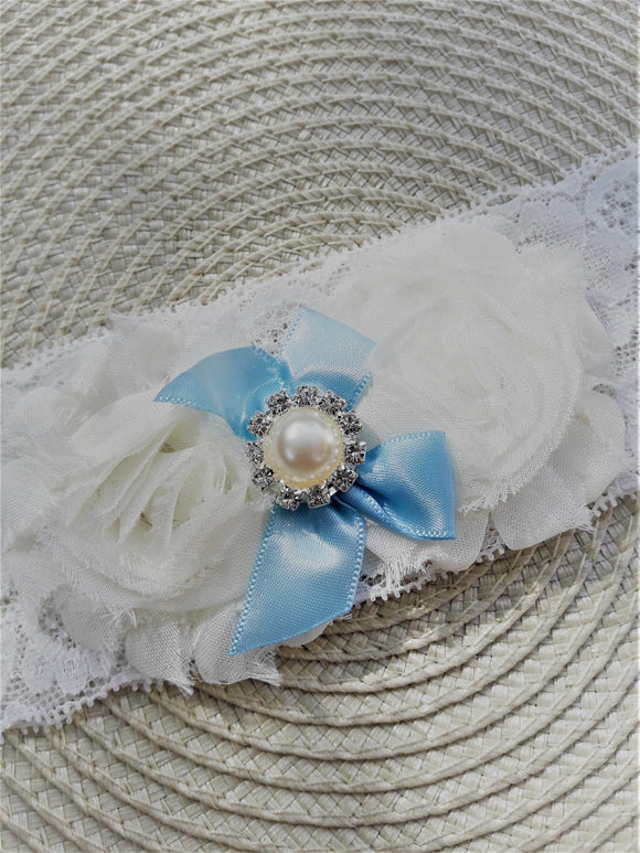 White lace garter with baby blue bow