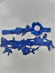 Royal blue and silver garter set