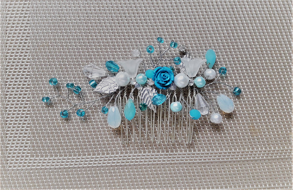 Silver and blue hair comb