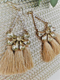Beige tassel earrings