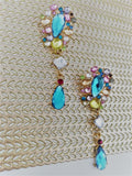 Multi-coloured crystal earrings