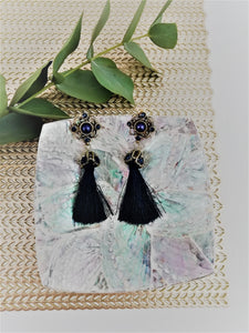 Baroque midnight blue earrings