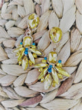Yellow and blue crystal earrings