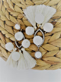 Gold and white bobble tassel earrings