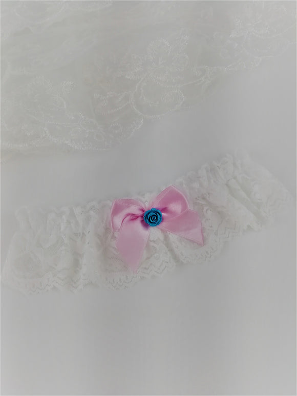 White stretch lace garter with pink bow
