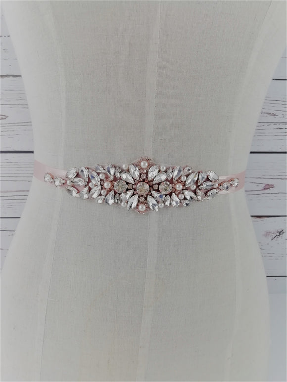 Rose gold crystal and pearl sash