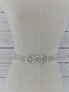 Silver crystal and rhinestone sash