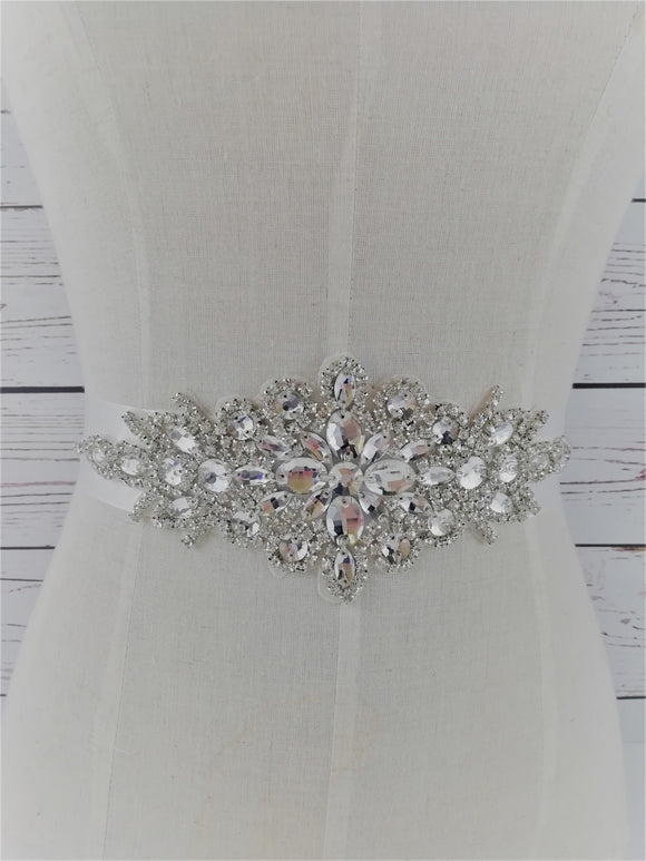 Large silver crystal sash