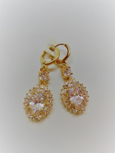 Gold and clear crystal mini drop earrings