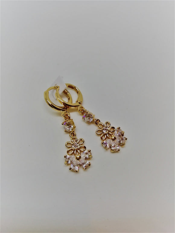 Gold and clear crystal butterfly earrings