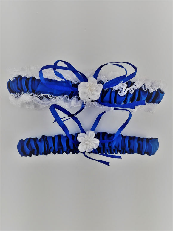 Royal blue garter set