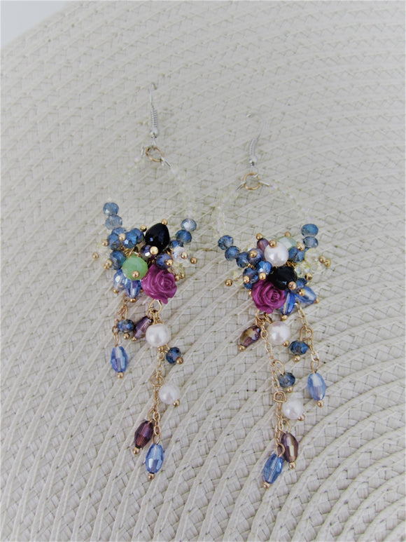 Crystal floral beaded drop earrings
