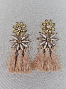 Beige crystal tassel earrings