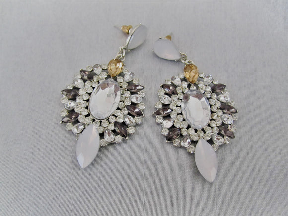 Silver and white crystal earrings