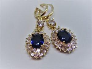 Navy blue and clear crystal mini drop earrings