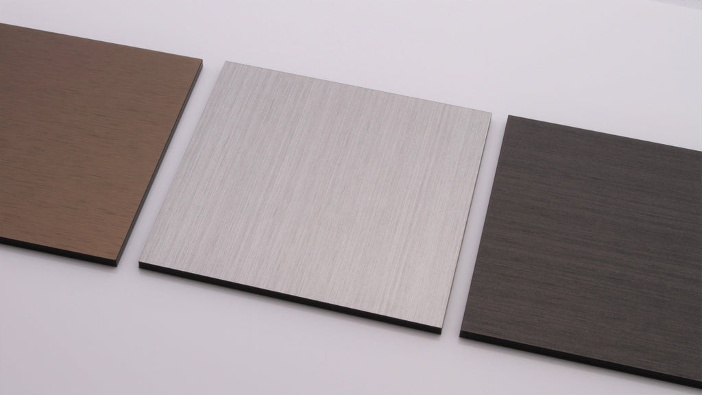Brushed black, brown and silver acrylic samples