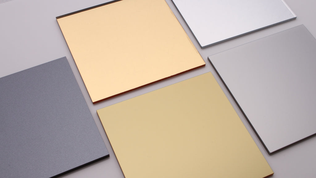 Sparkling, gold, silver and mirrored acrylic house sign samples