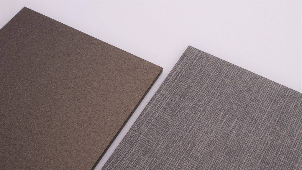 Metallic leather and material weave acrylic house sign samples