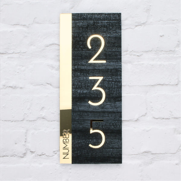 Charred Wood & Mirror Gold Modern Portrait Offset House Sign