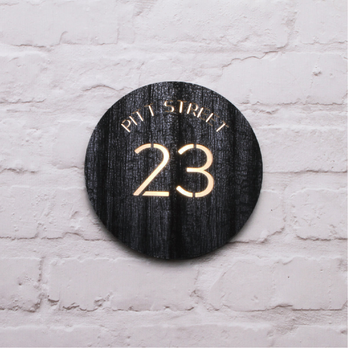 Charred Wood & Mirror Gold Modern Round House Sign