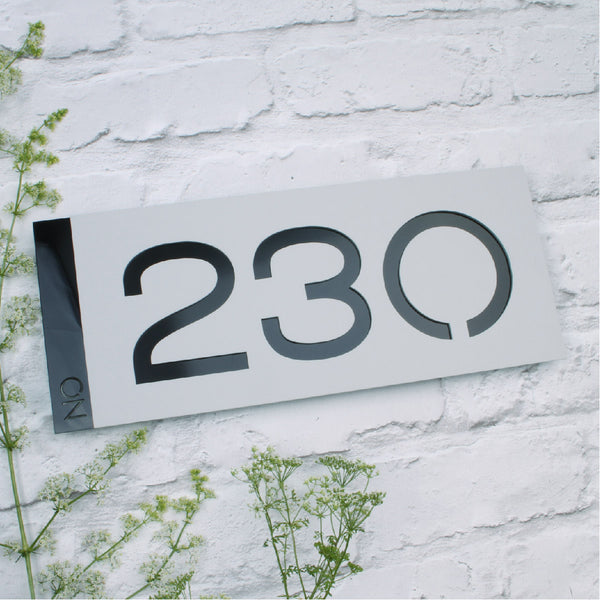 Matt Light Grey & Black Modern Landscape Offset House Sign