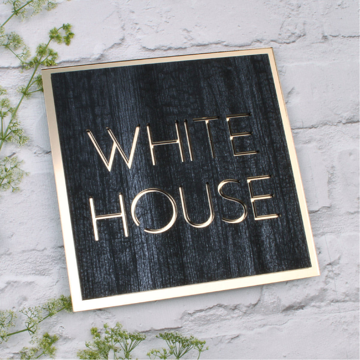 Charred Wood & Mirror Gold Modern Square Bordered House Sign